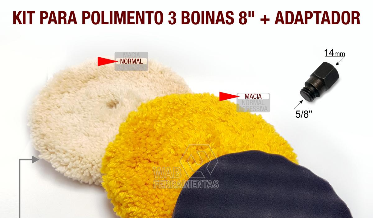 1d0981861a1a9 Kit para Polimento com 3 boinas 8   e adaptador. - WAB Ferramentas