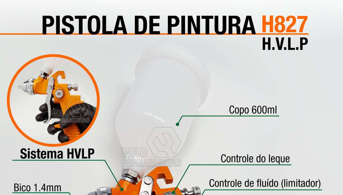 Pistola Hvlp copo 600ml bico 1.4mm