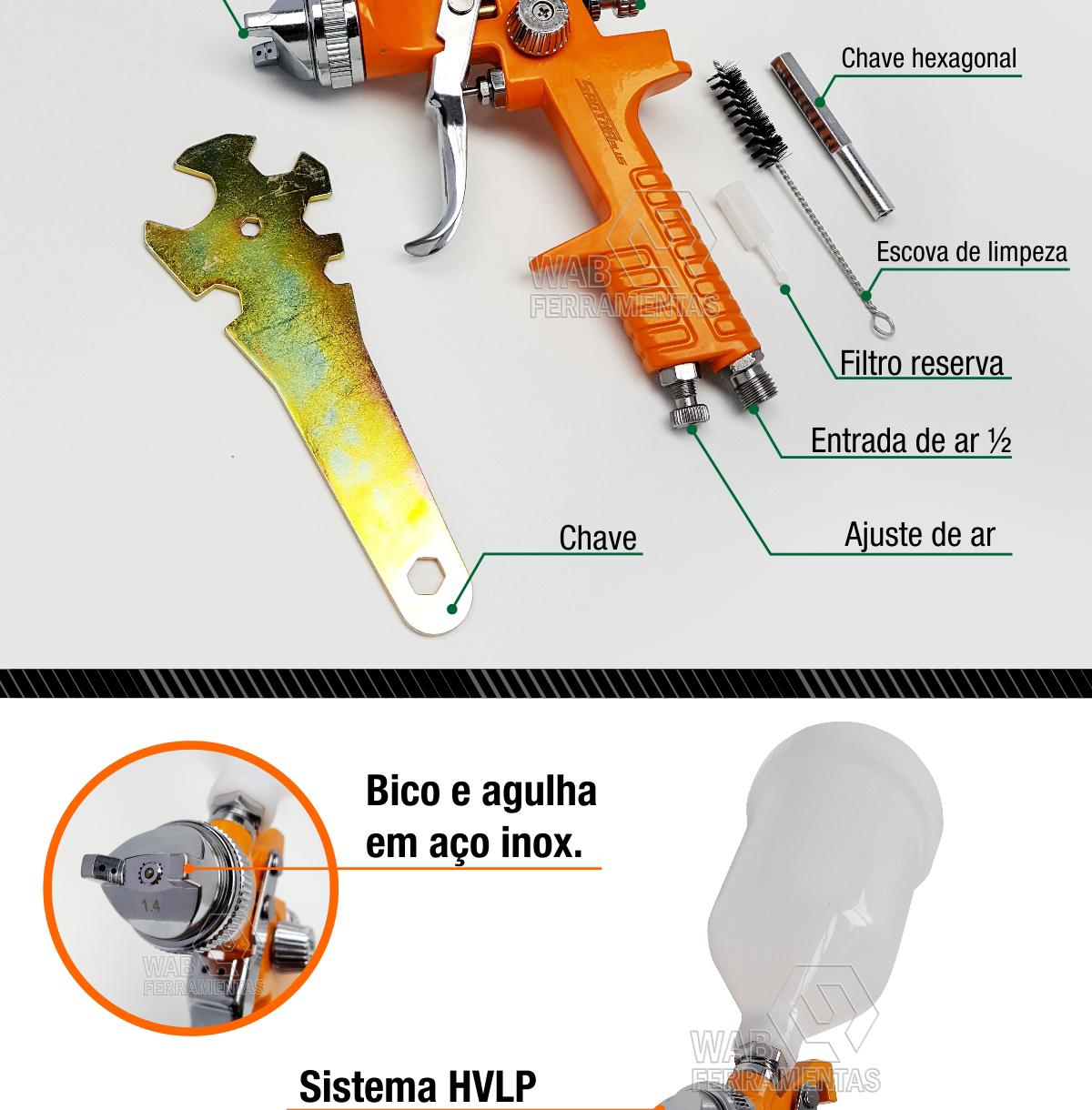 Pistola de pintura Copo 600ml e bico 1.4mm